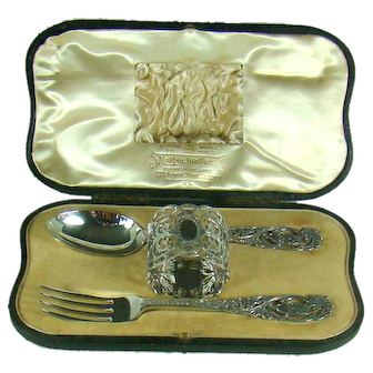 A Victorian Sterling Silver, Three Piece Christening Set,1900.
