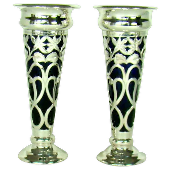 A Large Pair Of Antique Silver Flower Vases, 1911.