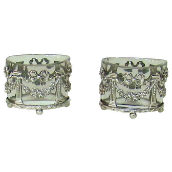 A Lovely Pair Of Antique Silver Salts, 1898.