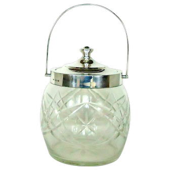 Cut Glass Biscuit Barrel With Sterling Silver Lid And Handle, 1927.
