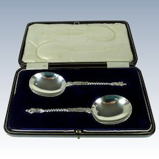 Cased Pair Of Vintage English Silver Serving Spoons, 1923.