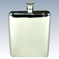 Large Vintage Sterling Silver Hip Flask, 1976.