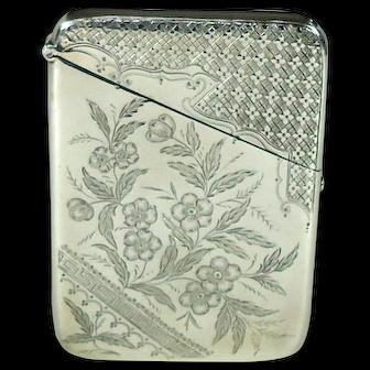 Victorian Antique Silver Card Case, 1891.