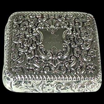 Victorian Antique Sterling Silver Snuff Box, 1899.
