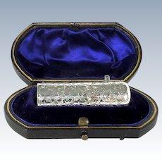 Cased Antique Sterling Silver Perfume Bottle, 1893.