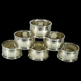 Set of 6 Vintage Sterling Silver Napkin Rings, 1950.