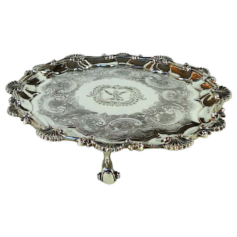 Antique Sterling Silver Salver, 1894.