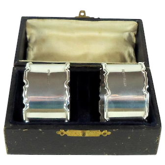 Boxed Pair Of Vintage Silver Napkin Rings,1945.