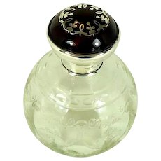A Sterling Silver And Tortoiseshell Topped Glass Perfume/Scent Bottle, 1921.