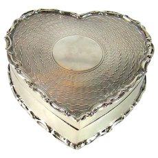 An Antique Silver Heart Shaped Box, 1904