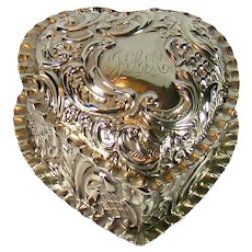 Antique Sterling Silver Heart Shaped Box, 1902.