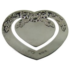 Vintage Sterling Silver Heart Shaped Bookmark, 1990.
