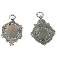 Two Vintage Sterling Silver Fobs, 1936+1937.