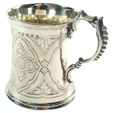 Antique Sterling Silver Christening Mug/Tankard, 1871.