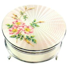 Attractively Enameled Vintage Sterling Silver Jewellery Box, 1960.