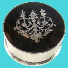 Antique Sterling Silver And Tortoiseshell Lidded Pill Box, 1918.