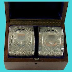 Good Quality Pair Of Antique Sterling Silver Napkin Rings, 1876.