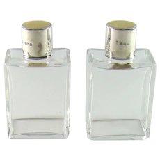 Pair Of Vintage Silver Art Deco Perfume/Scent Bottles, 1936.