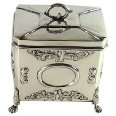 Good Quality Antique Sterling Silver Tea Caddy, 1907