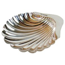 Antique Sterling Silver Shell Shaped Bowl, 1906.