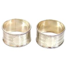 Antique Pair Of Sterling Silver Napkin Rings, 1914/15