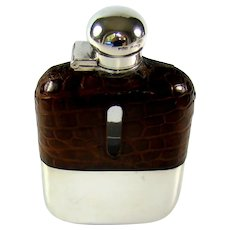 Vintage Sterling Silver And Crocodile Leather Topped Hip Flask, 1940.