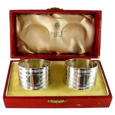 A Pair Of Art Deco Sterling Silver, Napkin Rings, 1920.