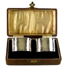Oval Pair Of Sterling Silver Napkin Rings, 1937.