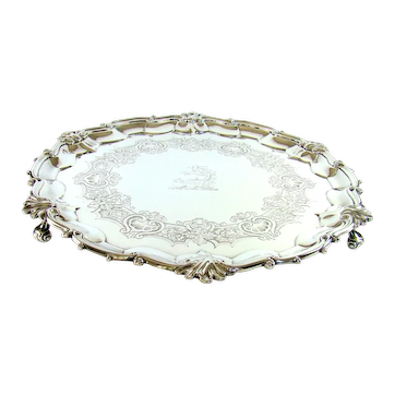 Large Early Victorian Sterling Silver Salver, 1841.