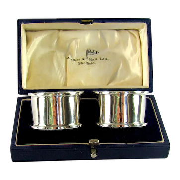 Boxed Pair Of Sterling Silver Napkin Rings,