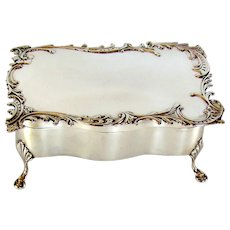 Antique Sterling Silver Jewelry Box, 1903.