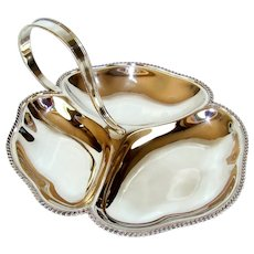 A Vintage Sterling Silver Hors d`oeuvre Serving Dish, 1939.
