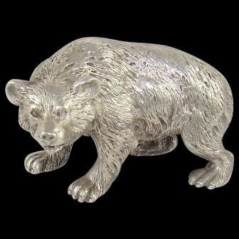 An Edwardian English, Cast Silver Bear, 1902.