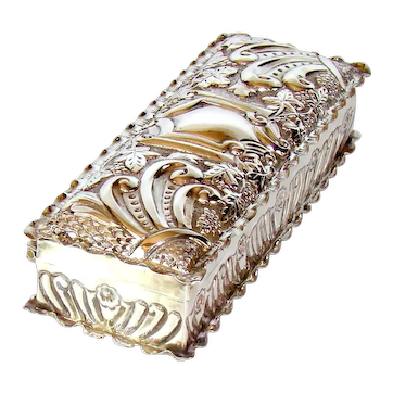 Antique Sterling Silver Trinket Box, 1897.