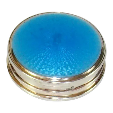 Vintage Sterling Silver And Enameled Top Make-Up Box, 1929.