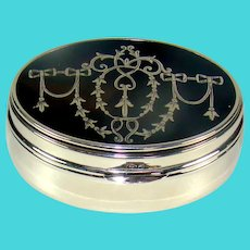 Antique Silver And Tortoiseshell Oval Pill Box, 1905.