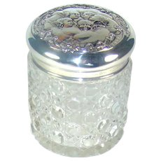 Antique Silver Topped Glass Tidy Jar, 1903.