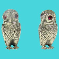 A Pair Of Victorian Silver Plated Owl Condiments.