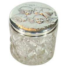 Antique Sterling Silver Topped, Cut Glass Dressing Table Jar, 1904.