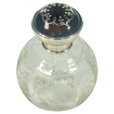 Antique Sterling Silver Glass Scent Bottle With A Tortoiseshell And Silver Lid, 1921.