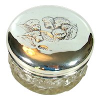 Antique Sterling Silver Topped Dressing Table Jar, 1902.