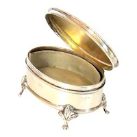 Antique Sterling Silver Oval Shaped Jewellery Box, 1917.