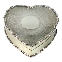 Heart Shaped Antique English Silver Box, 1904.
