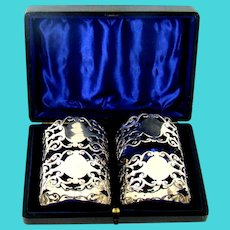 Antique Set Of Four Sterling Silver Napkin Rings, 1904.