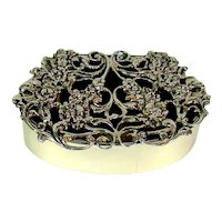 Antique Sterling Silver Box With A Stunning Pierced Lid, 1912.