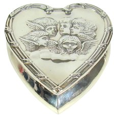 Victorian Sterling Silver Heart Shaped Box, 1897.