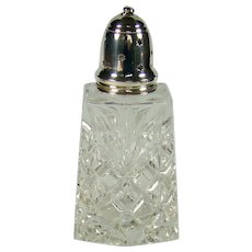 Vintage Sterling Silver Topped, Cut Glass Sugar Sifter, 1971.