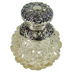 Antique Sterling Silver Mounted Cut Glass Scent/Perfume Bottle, 1902.