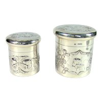 Two Victorian Sterling Silver Tidy Boxes, 1897.