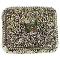 Antique English Silver Snuff Box, 1899.